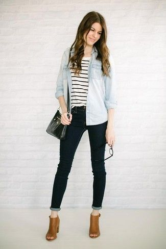 14cc6d39e74 stripe shirt + tan boots + black blue jeggings skinny jeans + chambray