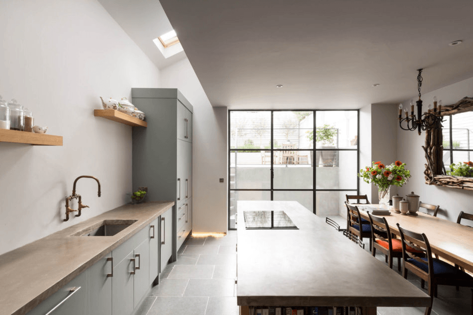 Steal this look new farmhouse kitchen in london ground floor skylight and square feet