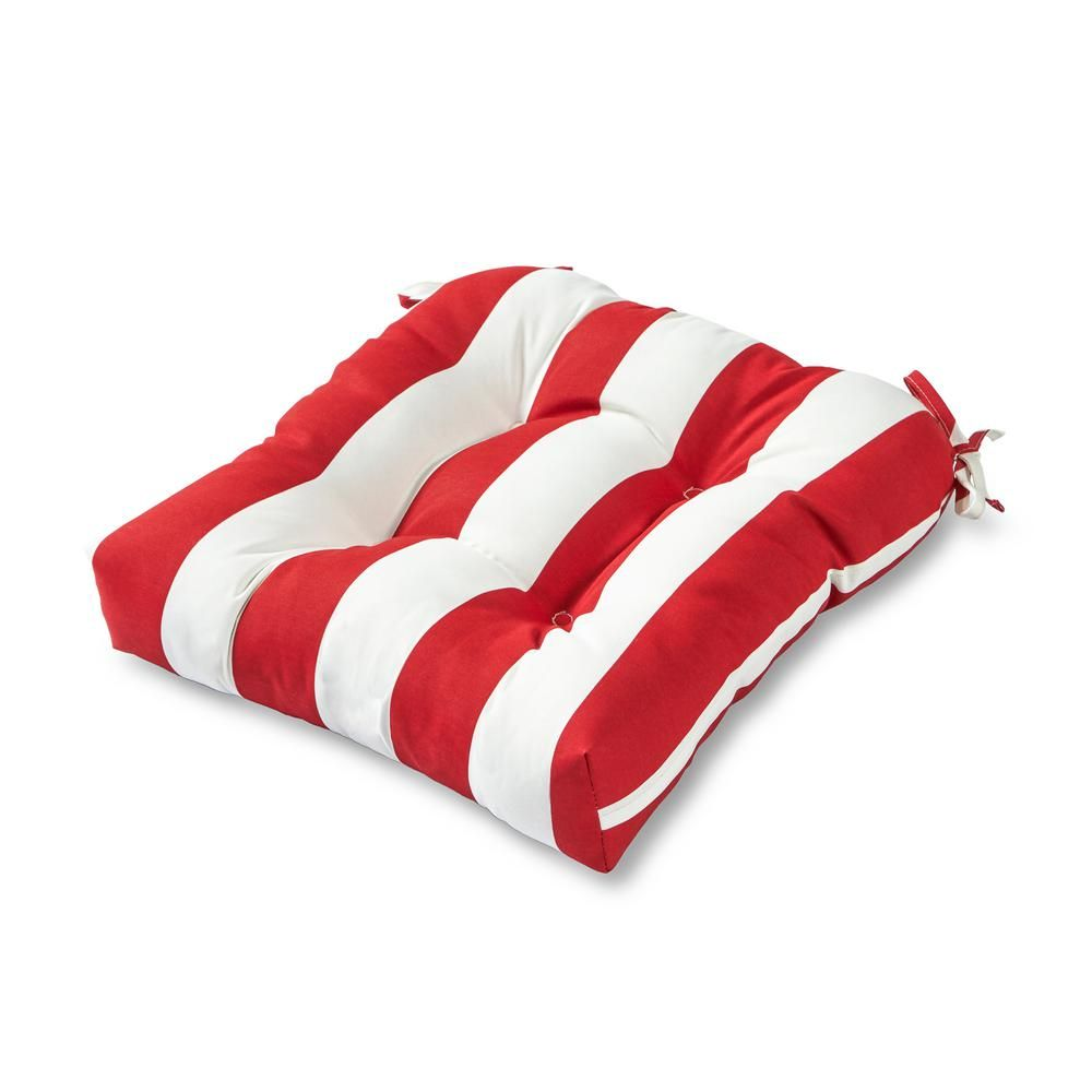 Greendale Home Fashions Cabana Stripe Red Square Tufted Outdoor Seat Cushion Outdoor Chair Cushions Outdoor Chairs Outdoor Seat Cushions