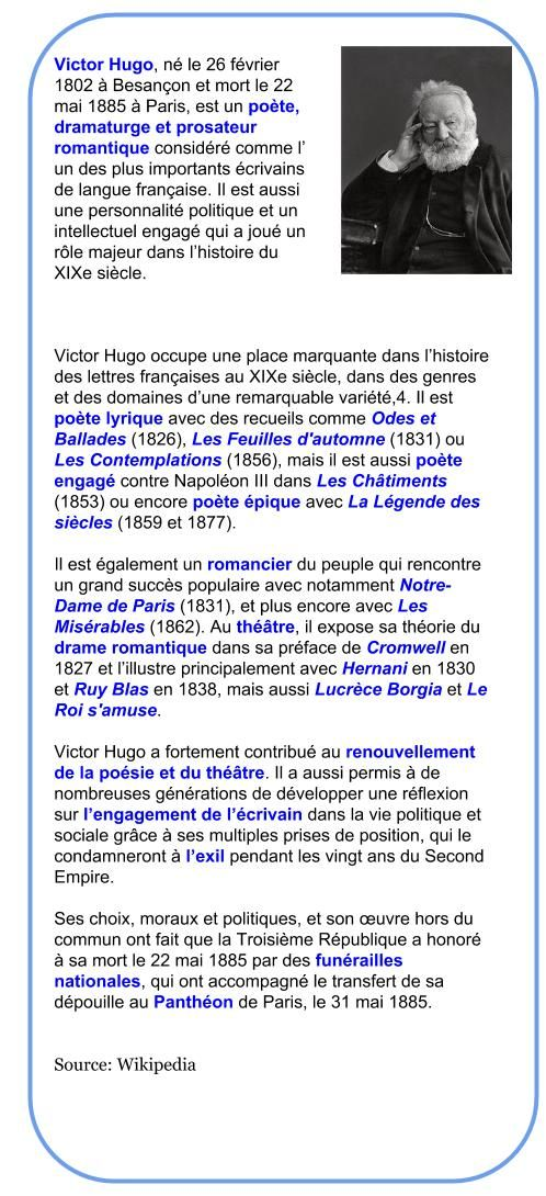 Victor Hugo 1802 1885 Comprehension Victor Hugo