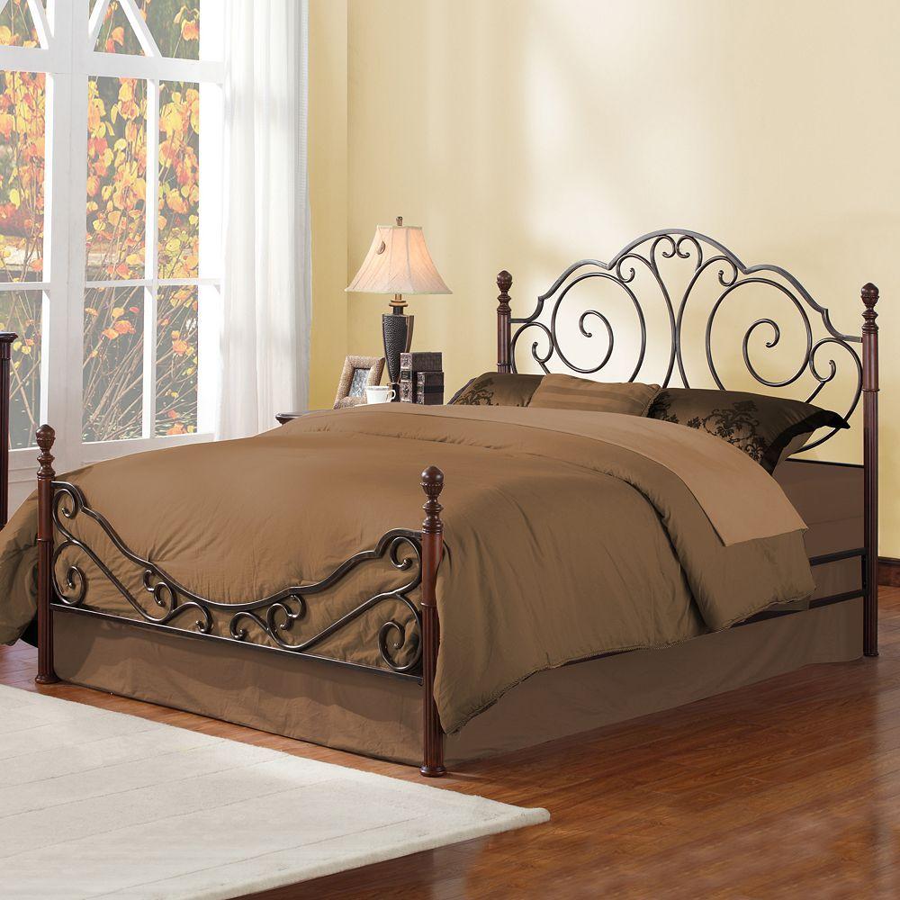 HomeVance Swirl Poster King Bed, Brown Furniture, Metal