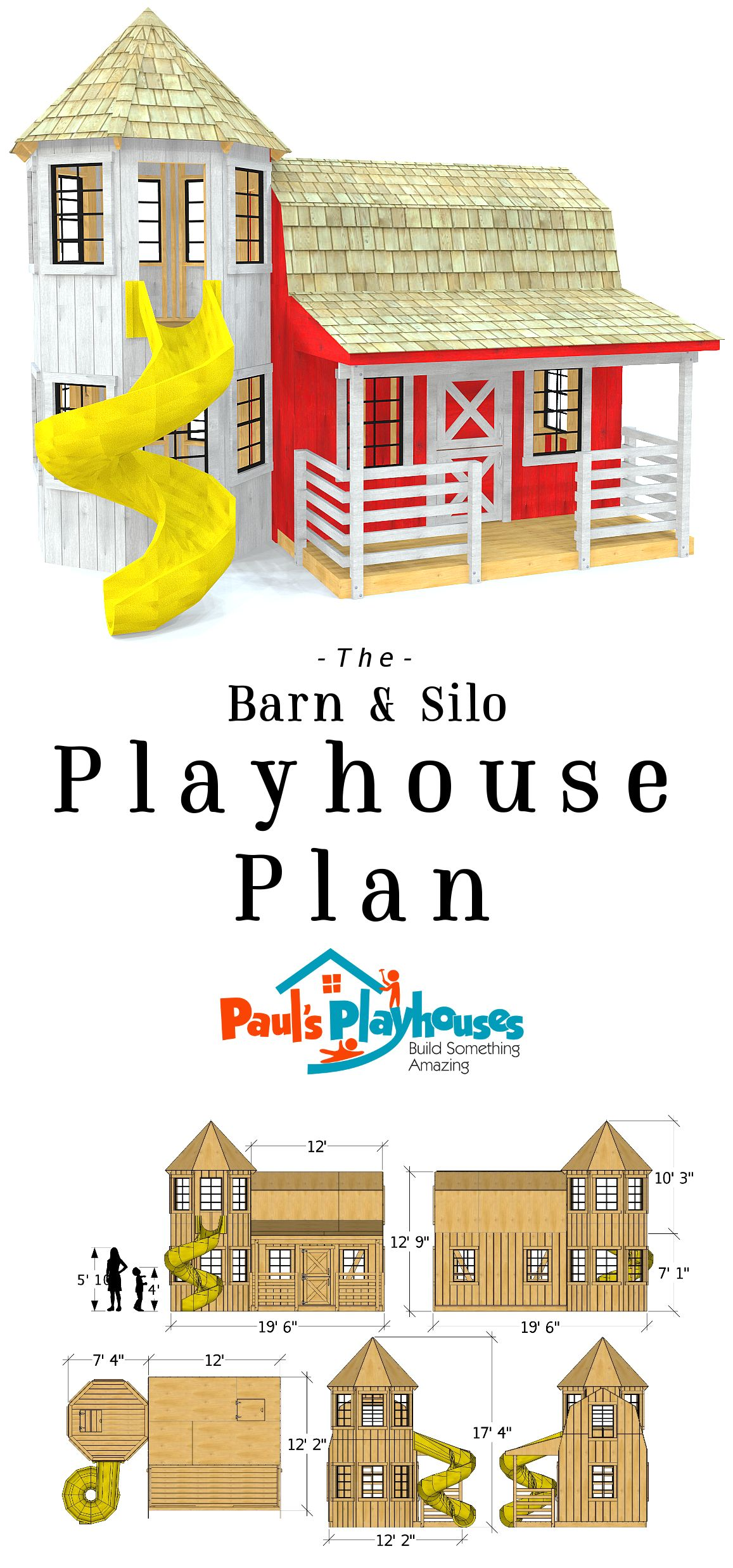 Barn silo playhouse plan pinterest 12x19 two story barn playhouse plan over 300 ft in usable play space malvernweather Choice Image