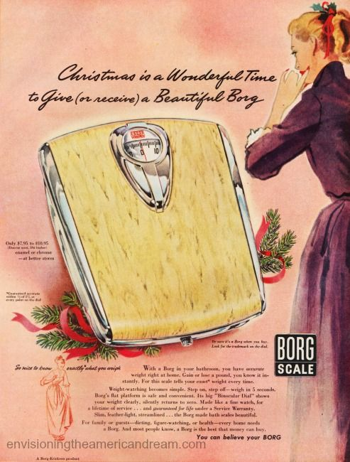 Vintage Xmas Ad 1951 Borg Bathroom Scale