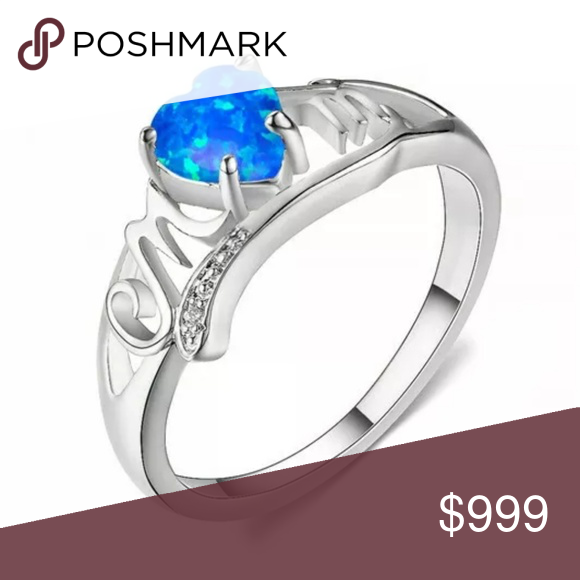Nwt Blue Fire Opal Silver Mom Ring Sz 6 Fire Opal Ring Opal Rings Fire Opal
