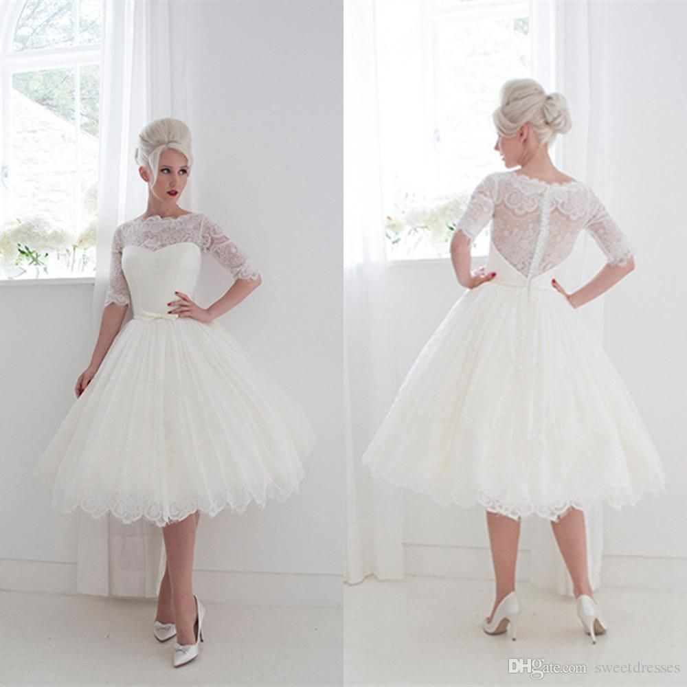 1950 S Style Short Wedding Dresses Bateau Lace Ribbon Cover On Back Tea Length Gowns Half Sleeves Ball Gown 2016 Gd 490