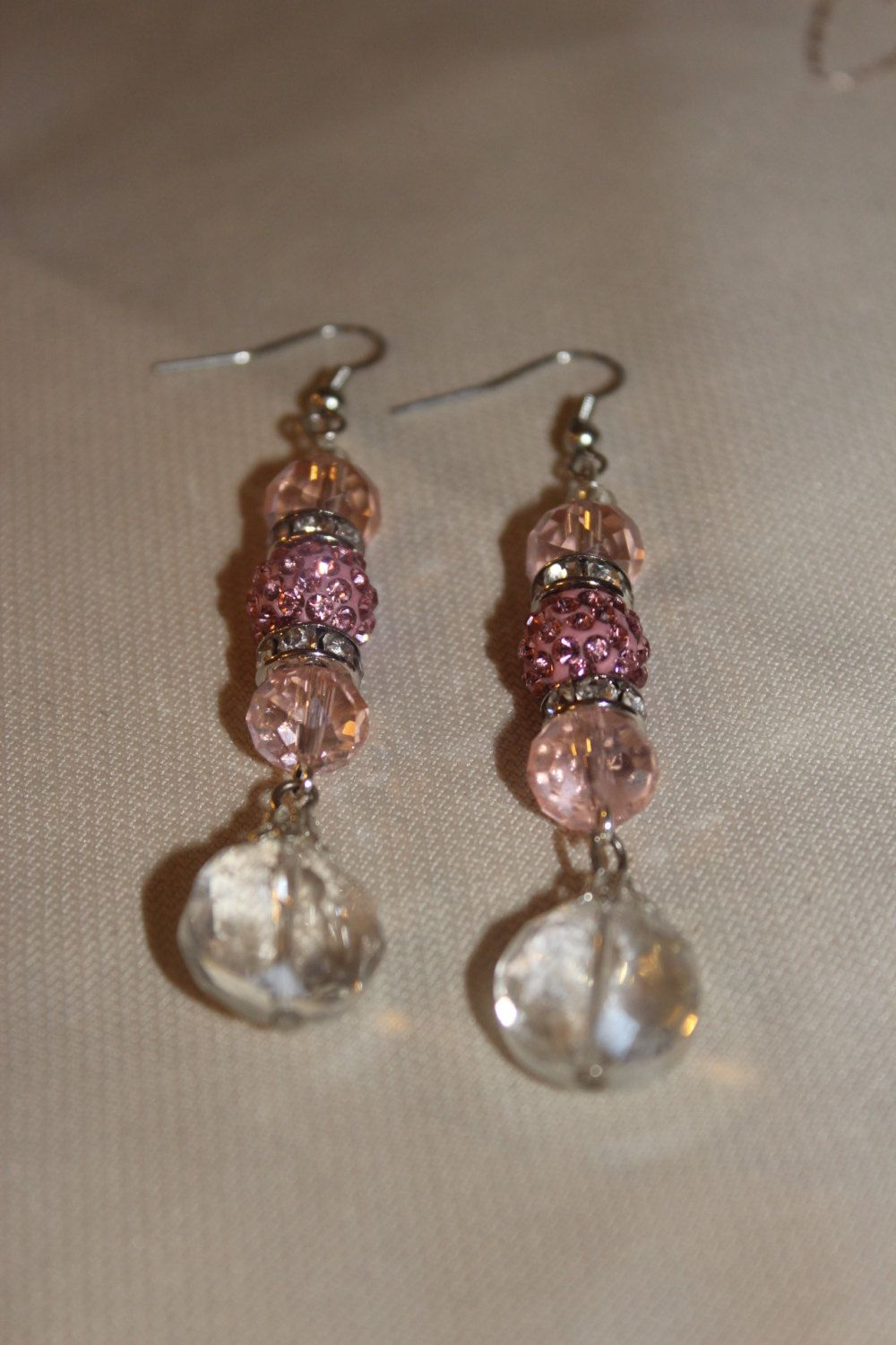 Petal Pink Earrings Sparkling Crystal And Pave Special Occasion