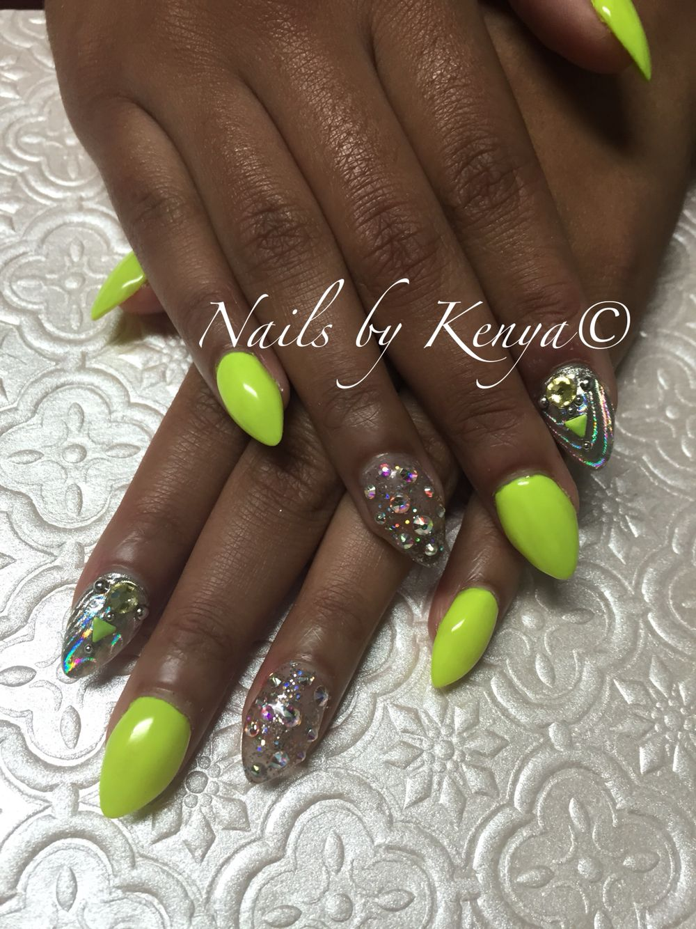 Neon Yellow Bling Nails!!! #neonnails #nailbling | Nail Designs ...