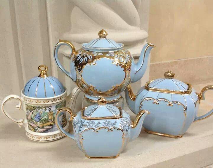 Collection Of Baby Blue And Gold Sadler Teapots Via Helen S Royal Tea House Tea Pots Vintage Tea Pots Tea