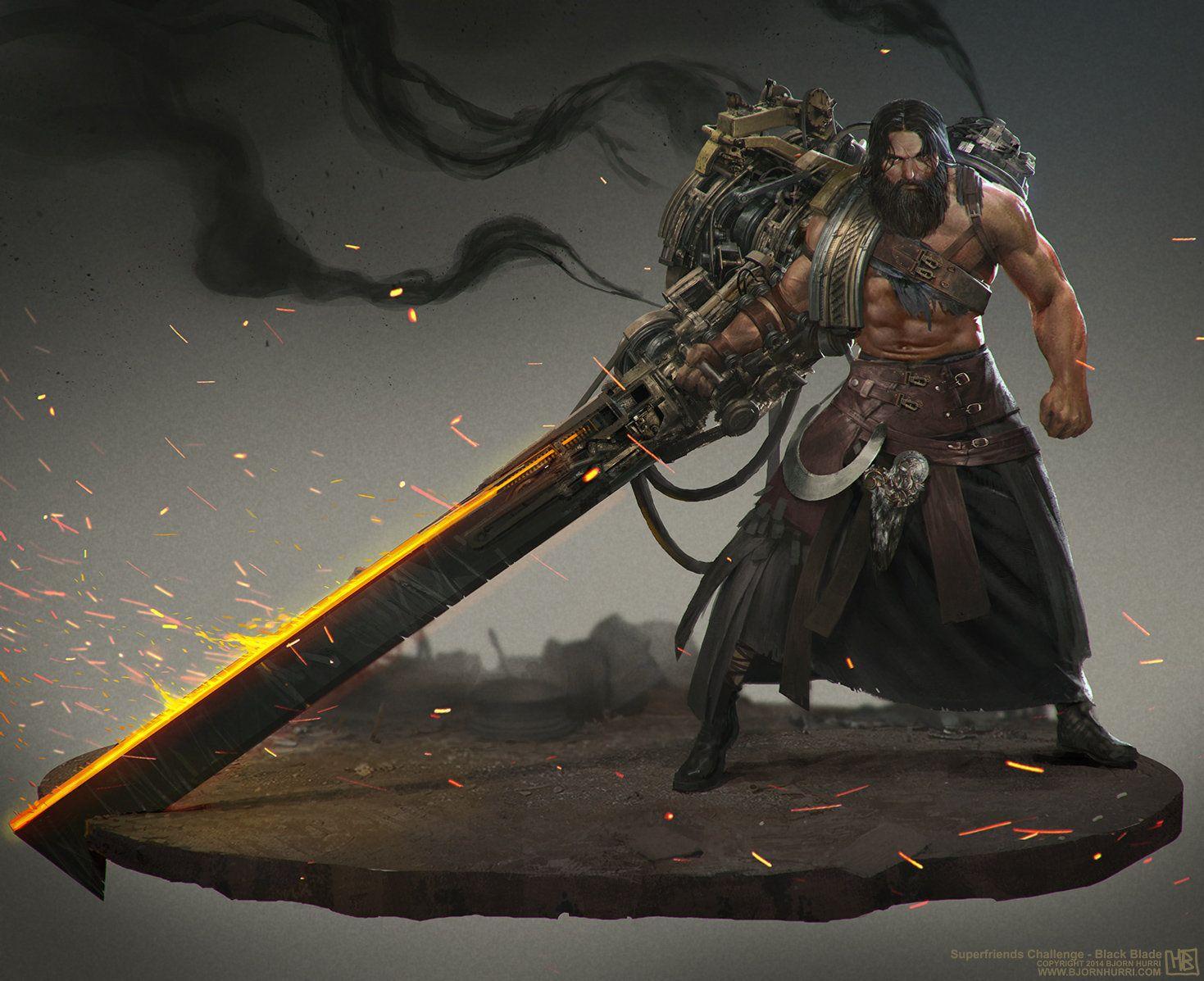 Women Warrior Artwork Sword Rain Cyberpunk Cyberpunk: Black Blade, Bjorn Hurri On