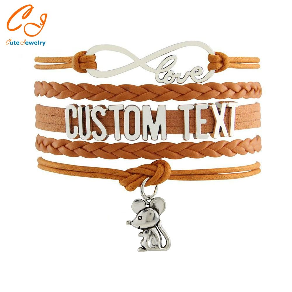 Drop shipping infinity bracelets custom text colorful leather cord