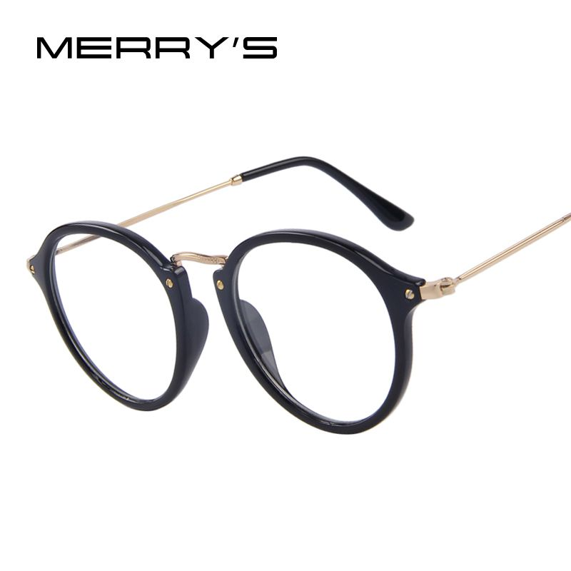 415ceb3d1f MERRY S Fashion Women Clear Lens Eyewear Unisex Retro Clear Eyeglasses Oval  Frame Metal Temples Men Eyeglasses
