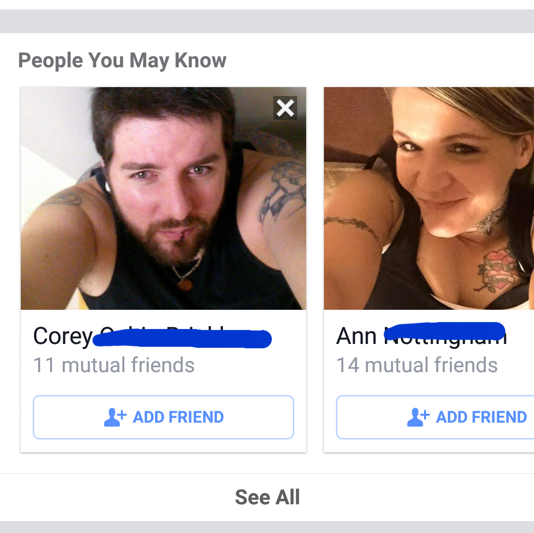 Facebook suggested two friends for me with the exact same selfie skills.
