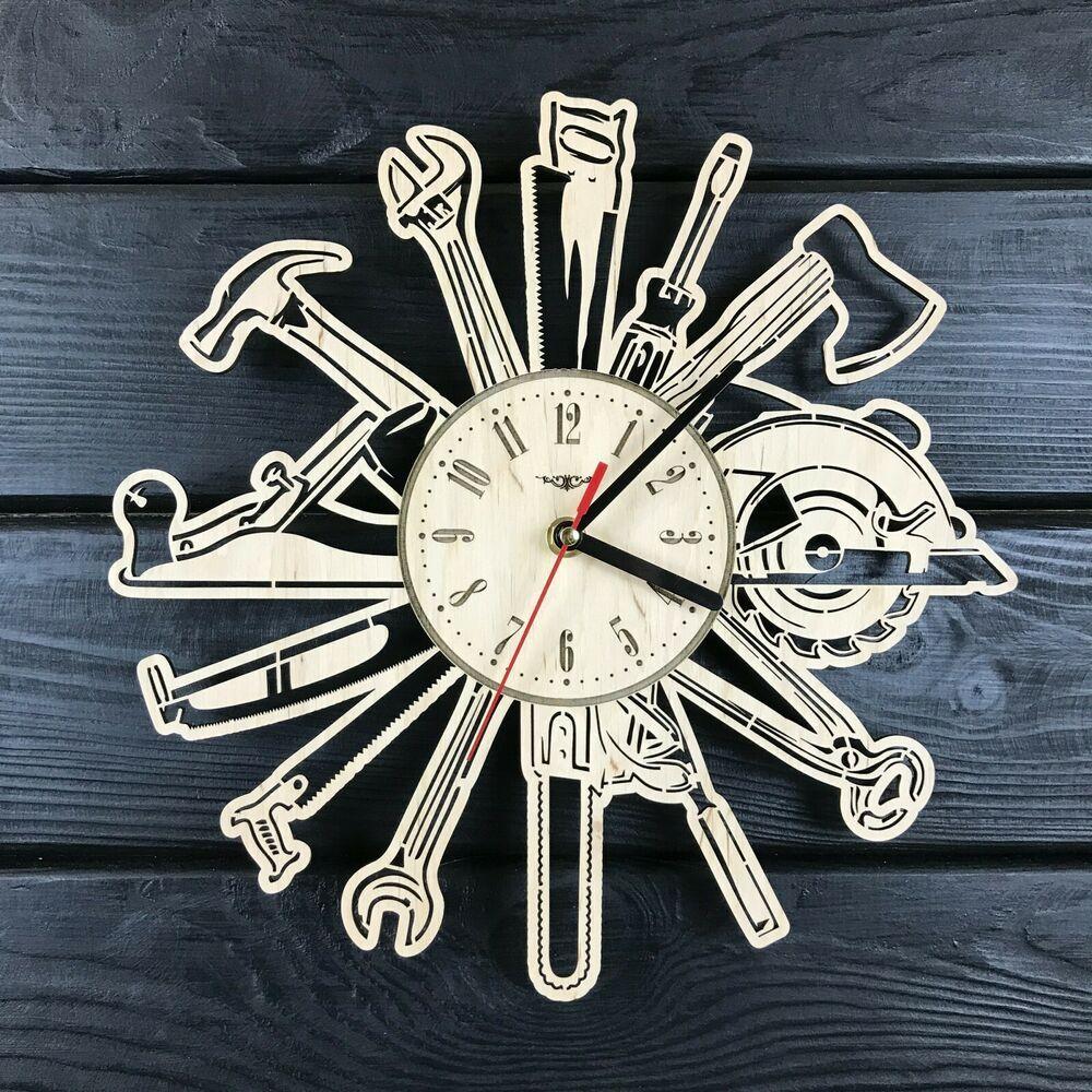 Man Instruments Modern Wall Clock Garage Wood Decor Birthday Man