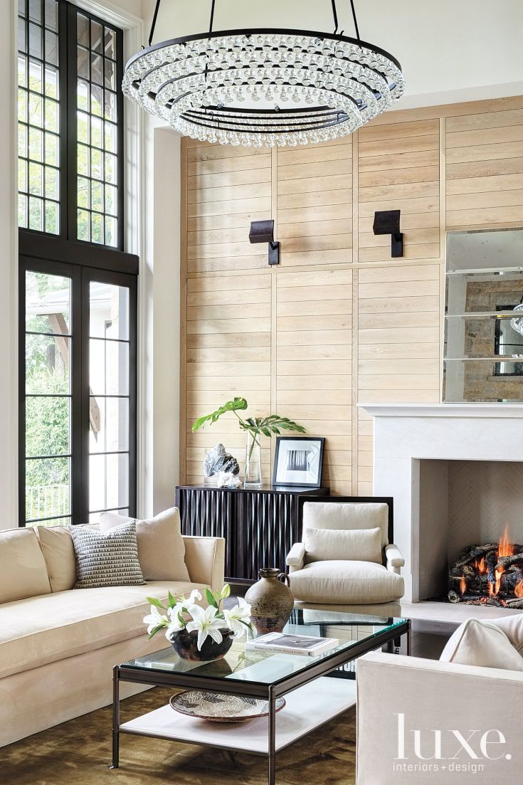 Contemporary Neutral Living Room With Custom Circle