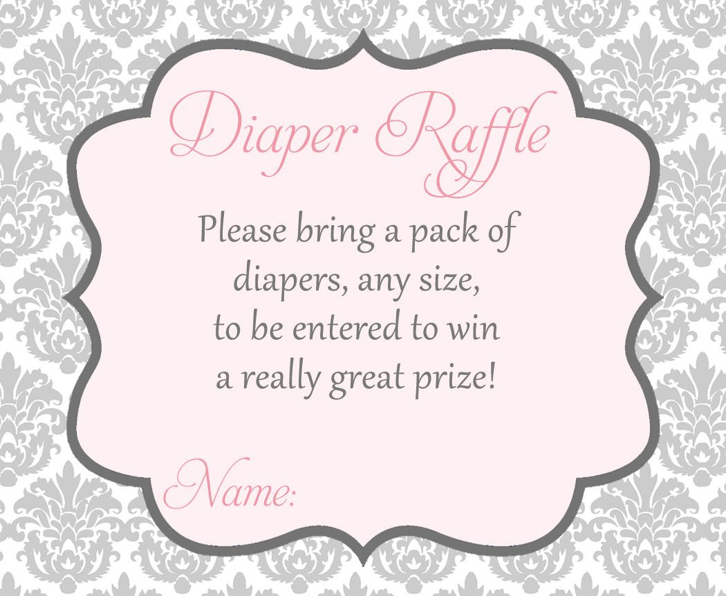 Damask Baby Shower Pink Diaper Raffle Ticket