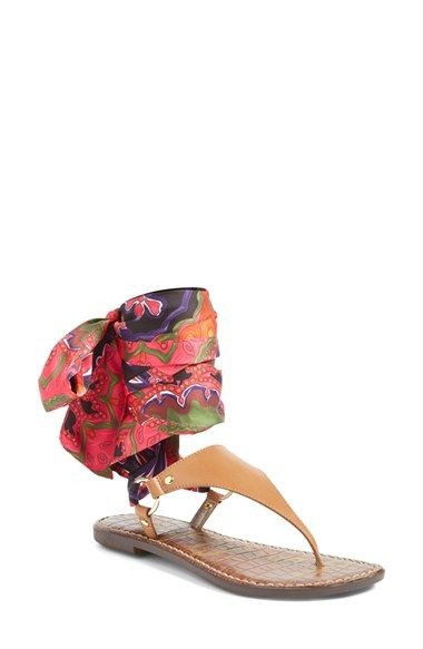 9cd3810f339 Free shipping and returns on Sam Edelman Giliana Ankle Tie Thong Sandal  (Women) at Nordstrom.com. Wide wraparound ties done in a pretty floral  print add a ...