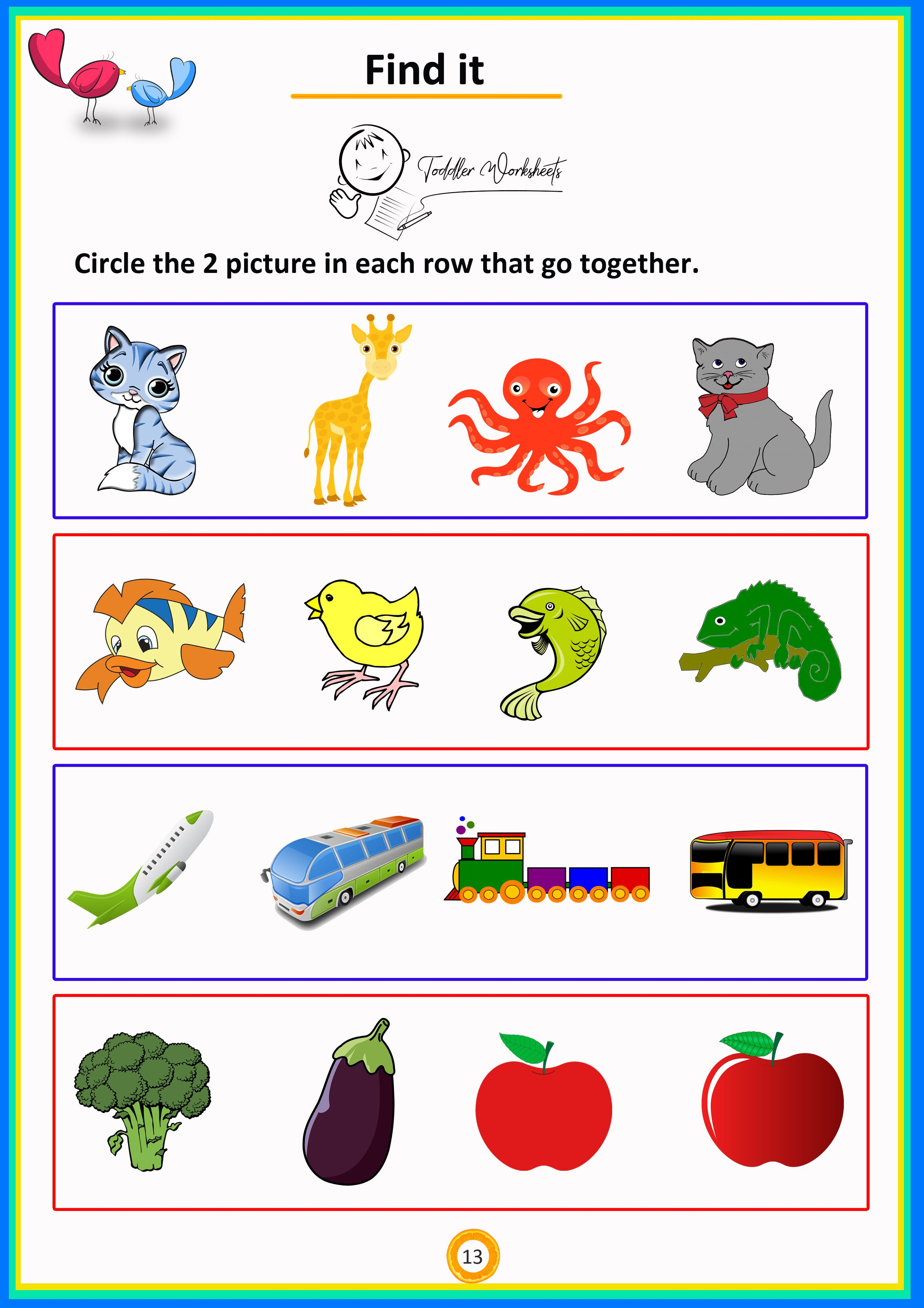 Circle Two Pictures That Belongs Preschool Math Toddler