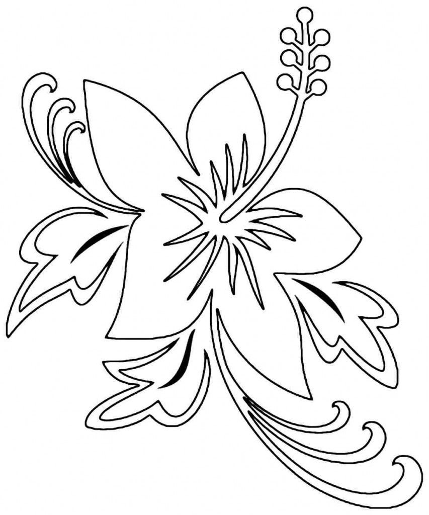 Hibiscus coloring pages images broderies 1 pinterest - Dessin d hibiscus ...