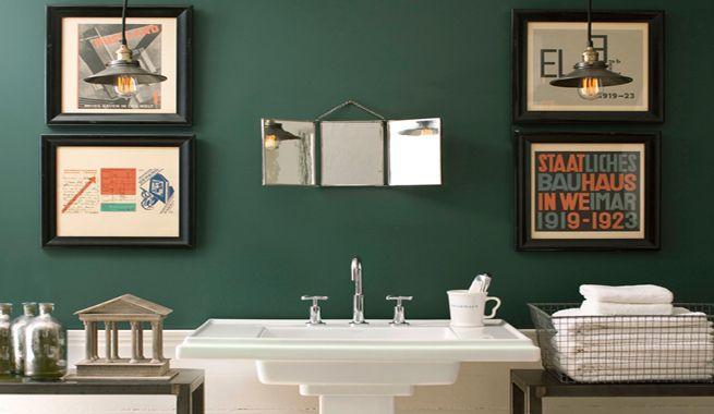 Banos En Color Verde Esmeralda Banos Verdes Pinturas Verdes