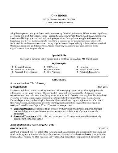 Accounting Associate Resume Sample  Resume    Customer