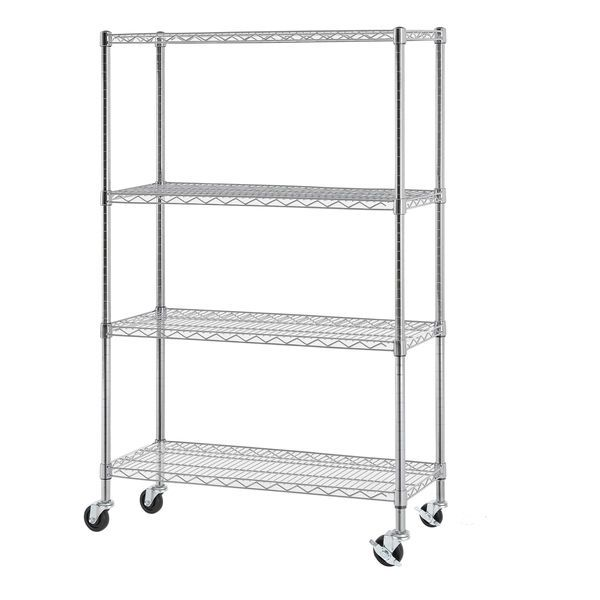 Multipurpose 4 Tier Wire Shelving Unit With Casters Home Organizer
