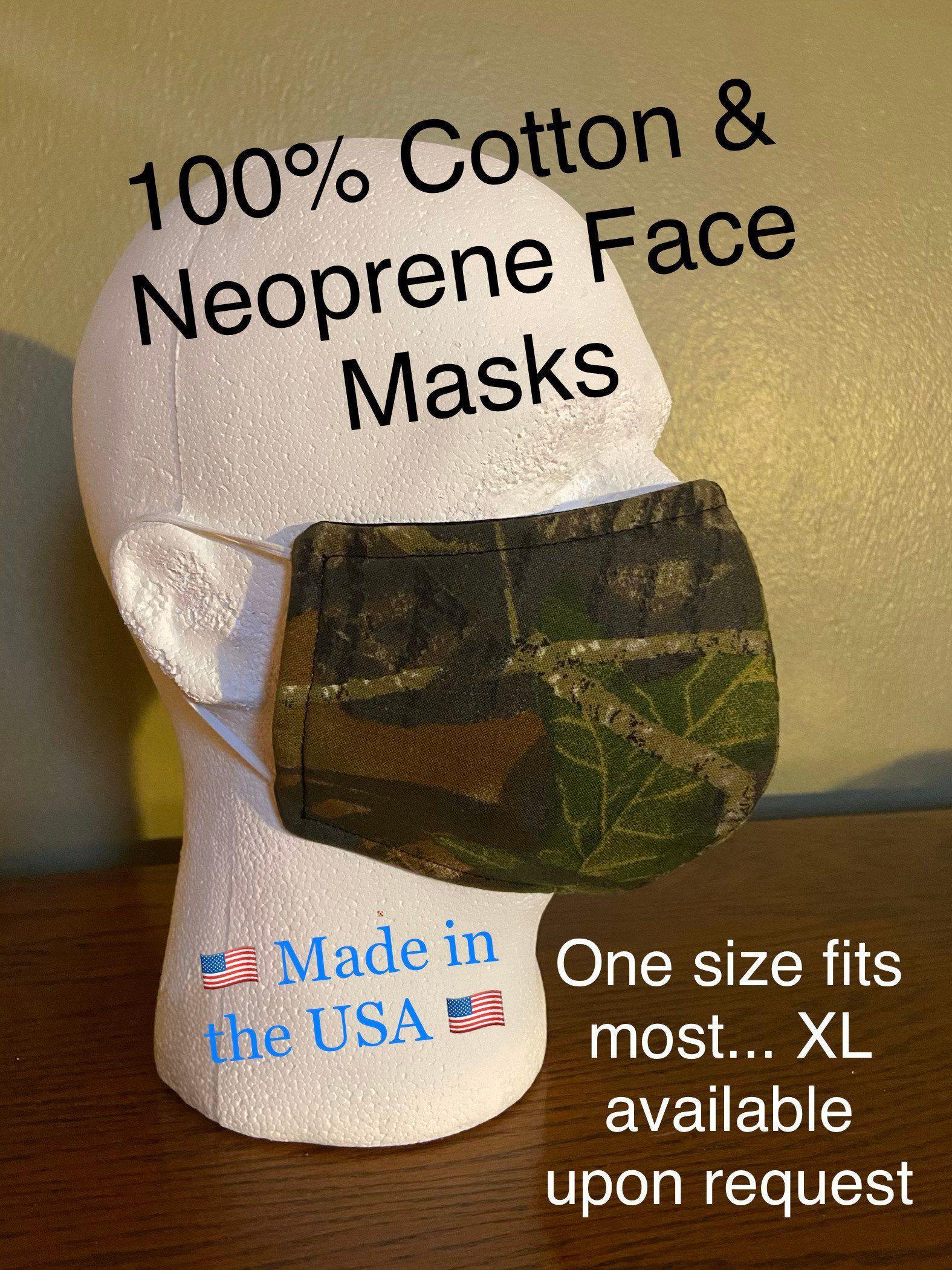 Handmade Reusable Triple Layer Soft 100 Cotton & Neoprene