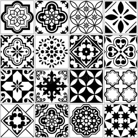 Vector tile pattern, Lisbon floral mosaic, Mediterranean seamless black and white ornament #lisbon