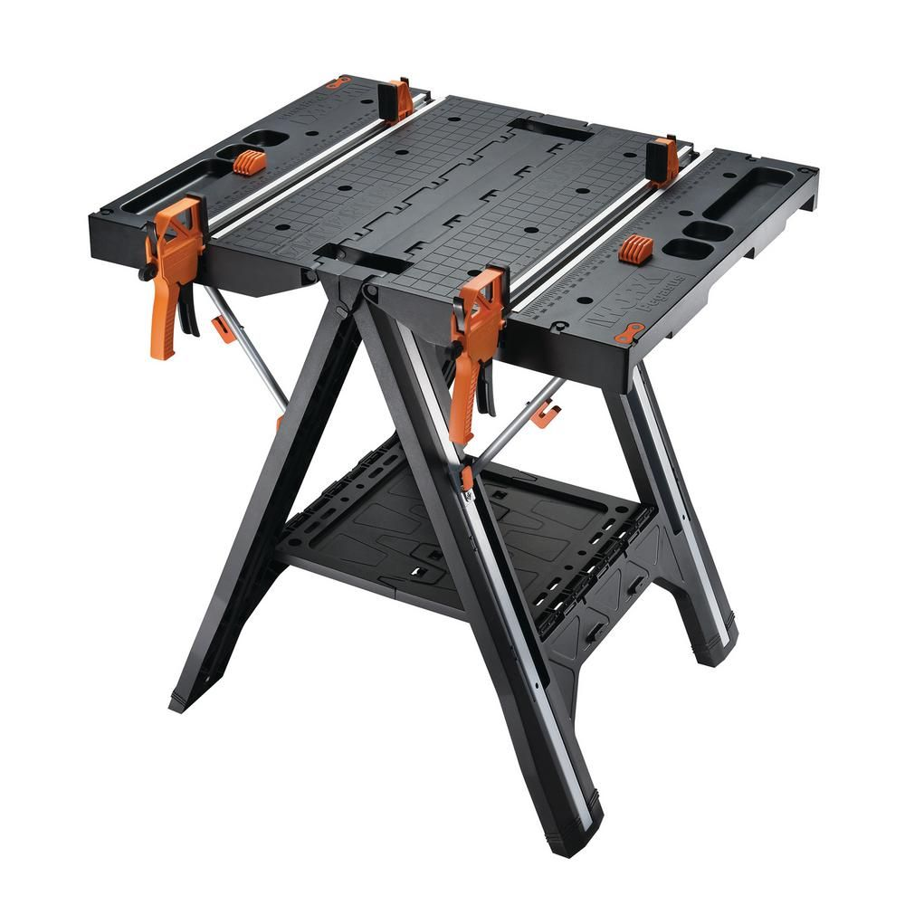 Worx Pegasus Multi Function Work Table And Sawhorse With Quick Clamps And Holding Pegs Wx051 Folding Workbench Portable Workbench Woodworking Bench