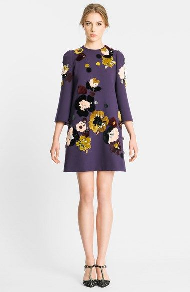 Dolce&Gabbana Genuine Rabbit Fur Embroidered Crepe Dress available at #Nordstrom