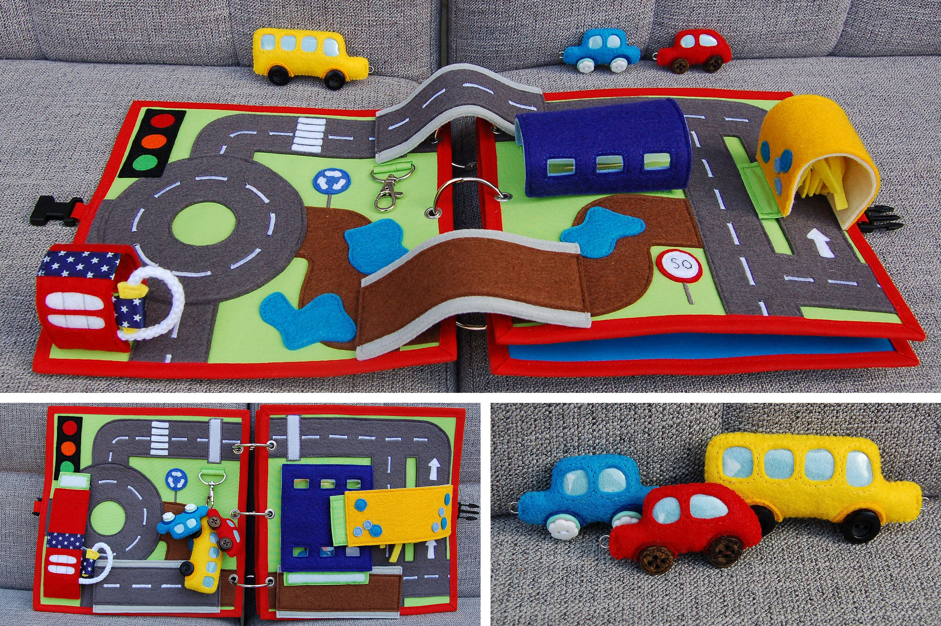 Homemade car toys  PATTERN u TUTORIAL  Quiet book pages  Car and Traffic roads