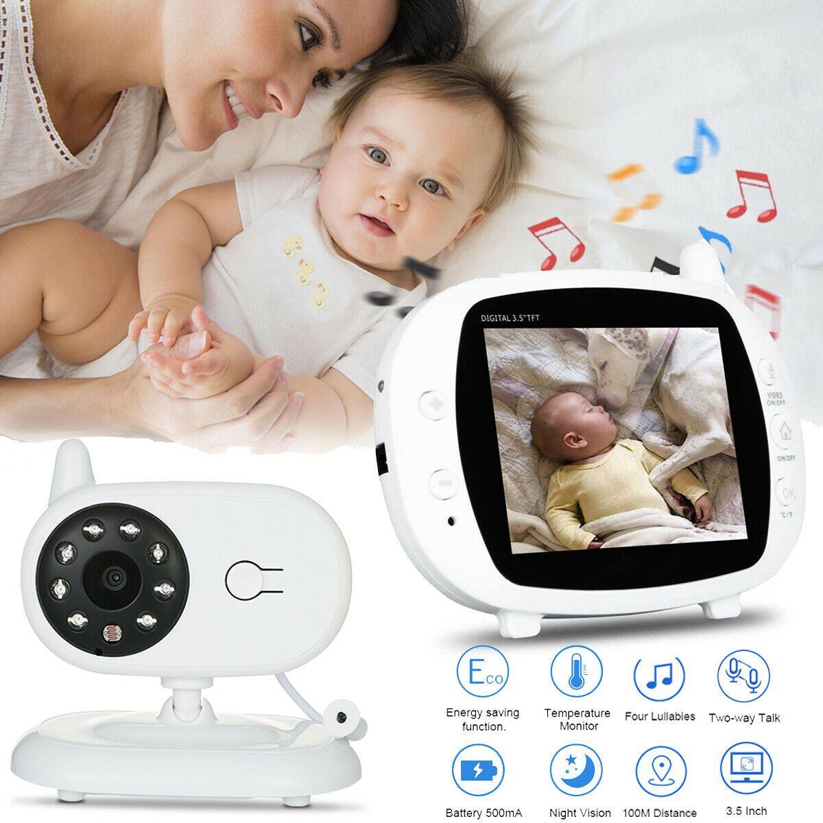 3.5 Zoll Funk wireless Babyphone Baby Monitor mit Kamera Video Musik Nachtsicht