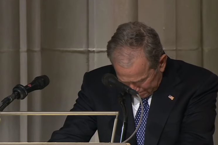 George W Bush Breaks Down Delivering A Gut Wrenching Eulogy For His Dad George H W Bush George Hw Bush Jr Good Good Father
