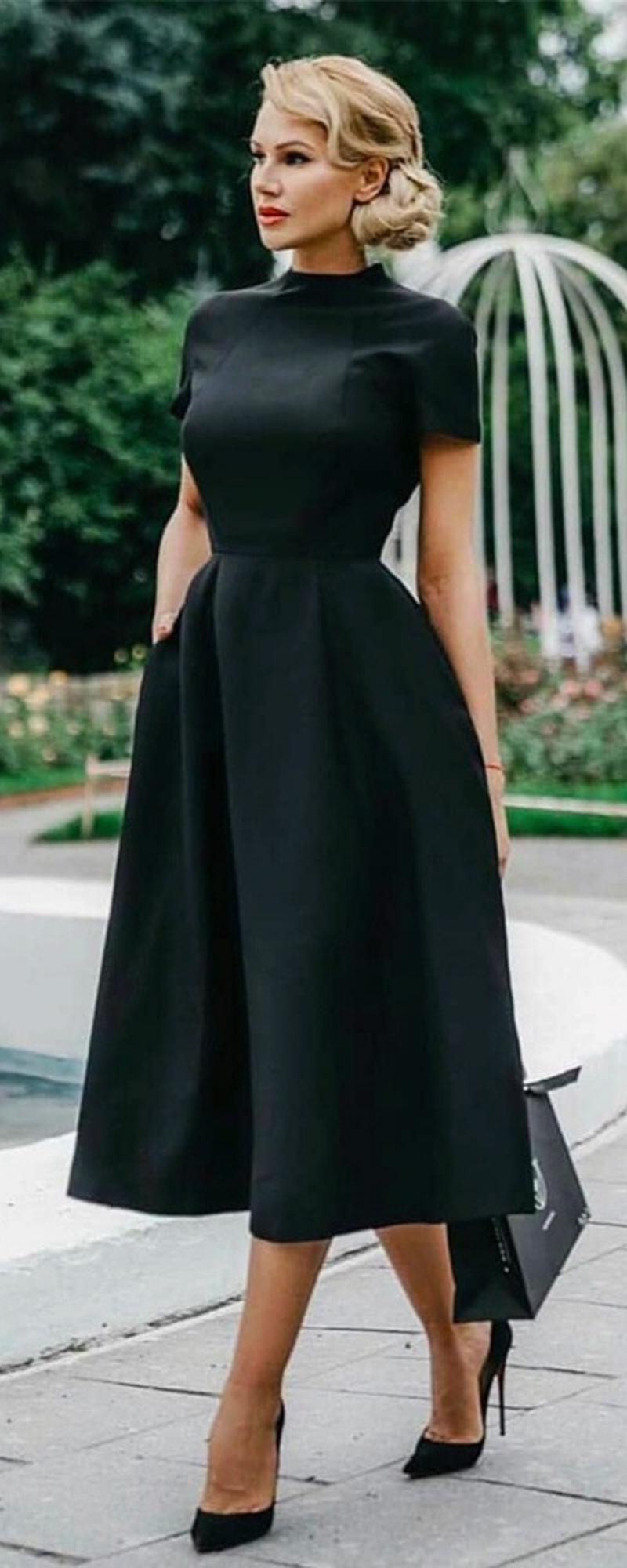 Black Vintage Flare Dress Runway Street Style Black Dresses Classy Classy Dress Fashion Dresses [ 2000 x 800 Pixel ]