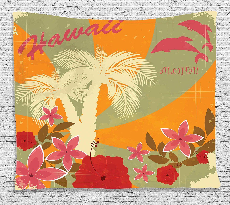 Ambesonne Hawaiian Decorations Collection, Aloha Vintage Style Print ...