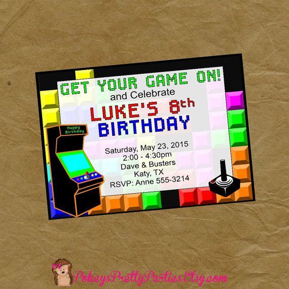 ARCADE Birthday Party Invitation Invite by PokeysPrettyParties