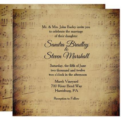 Sheet music theme wedding invitation sheet music theme wedding invitation diy cyo personalize design idea new special custom stopboris Choice Image