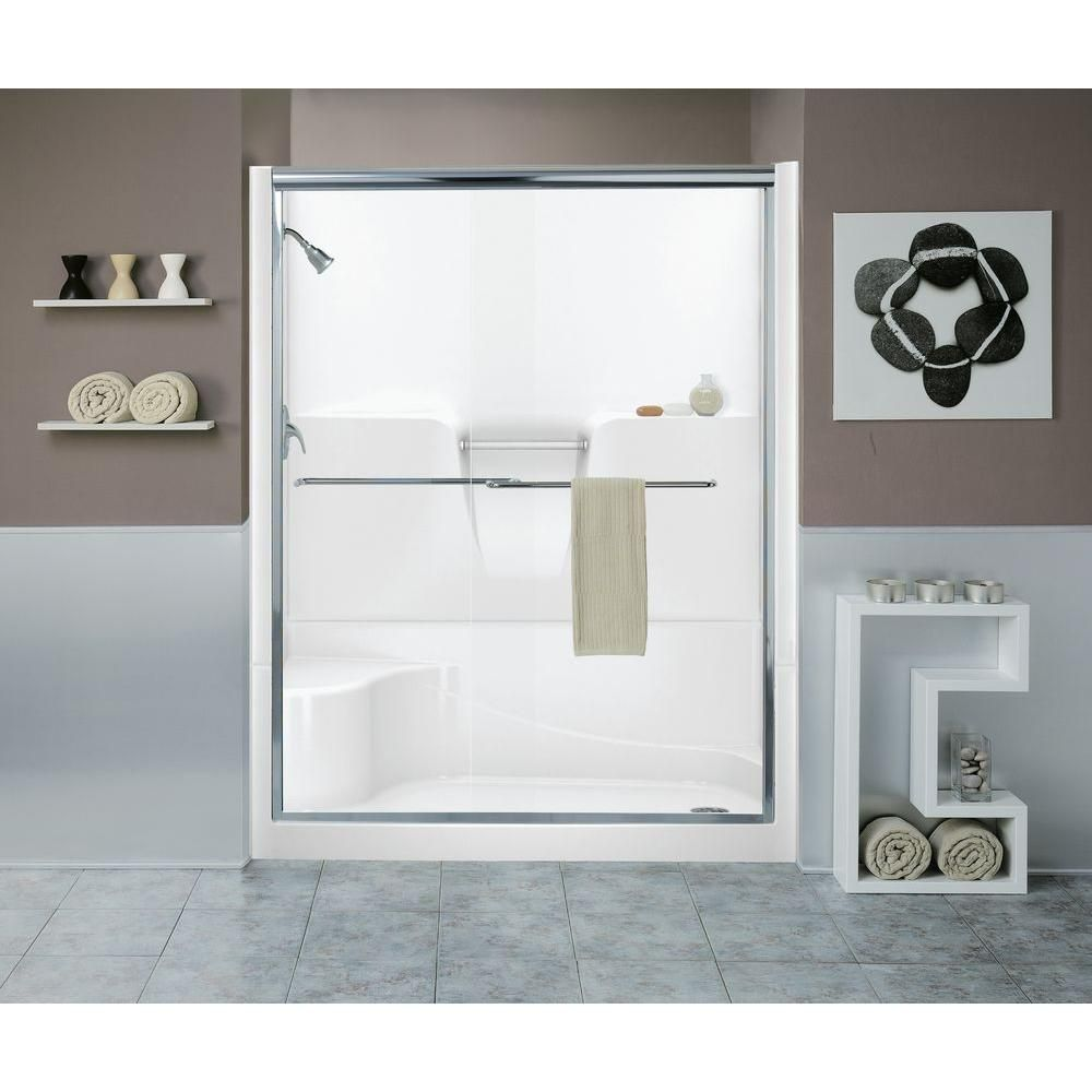 Aquatic Remodeline Smooth Wall 60 In. X 34 In. X 76 In. 4 Piece Shower Stall  Kit Right Hand Drain In Biscuit