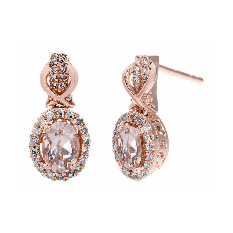 1 4 Ct T W Diamond And Genuine Morganite 10k Rose Gold Drop Earrings Rose Gold Earrings Studs Gold Earrings Studs Rose Gold Drop Earrings