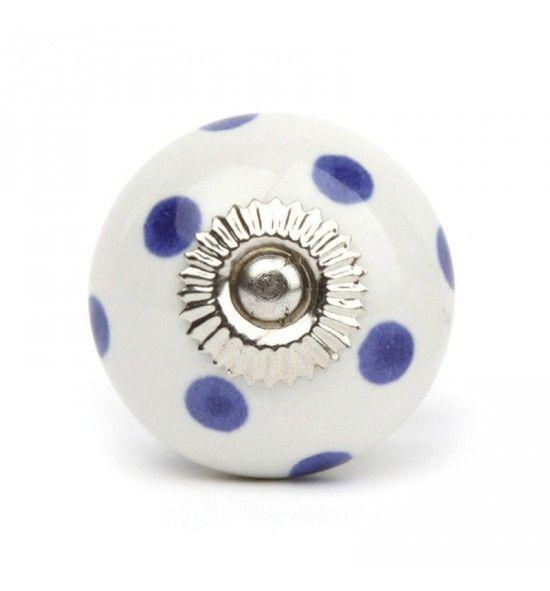 Pomello in Ceramica Blu a Pois Azzurri | Ceramica blu, Blu e ...