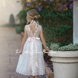 White Flower girl dress, long sleeve flower girl, baptism dress, rustic flower girl, First Communion dress, flower girl dress Gallery