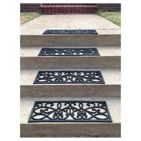 Best Outdoor Rubber Scrollwork Stair Tread 4Pk Black 400 x 300