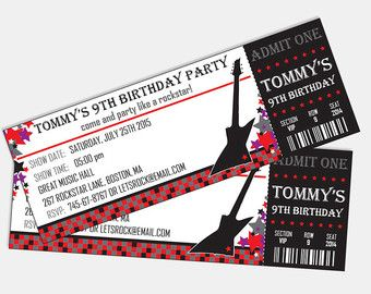 Captivating ROCK STAR Concert Ticket Birthday Party Invitation By LyonsPrints Intended Concert Ticket Birthday Invitations