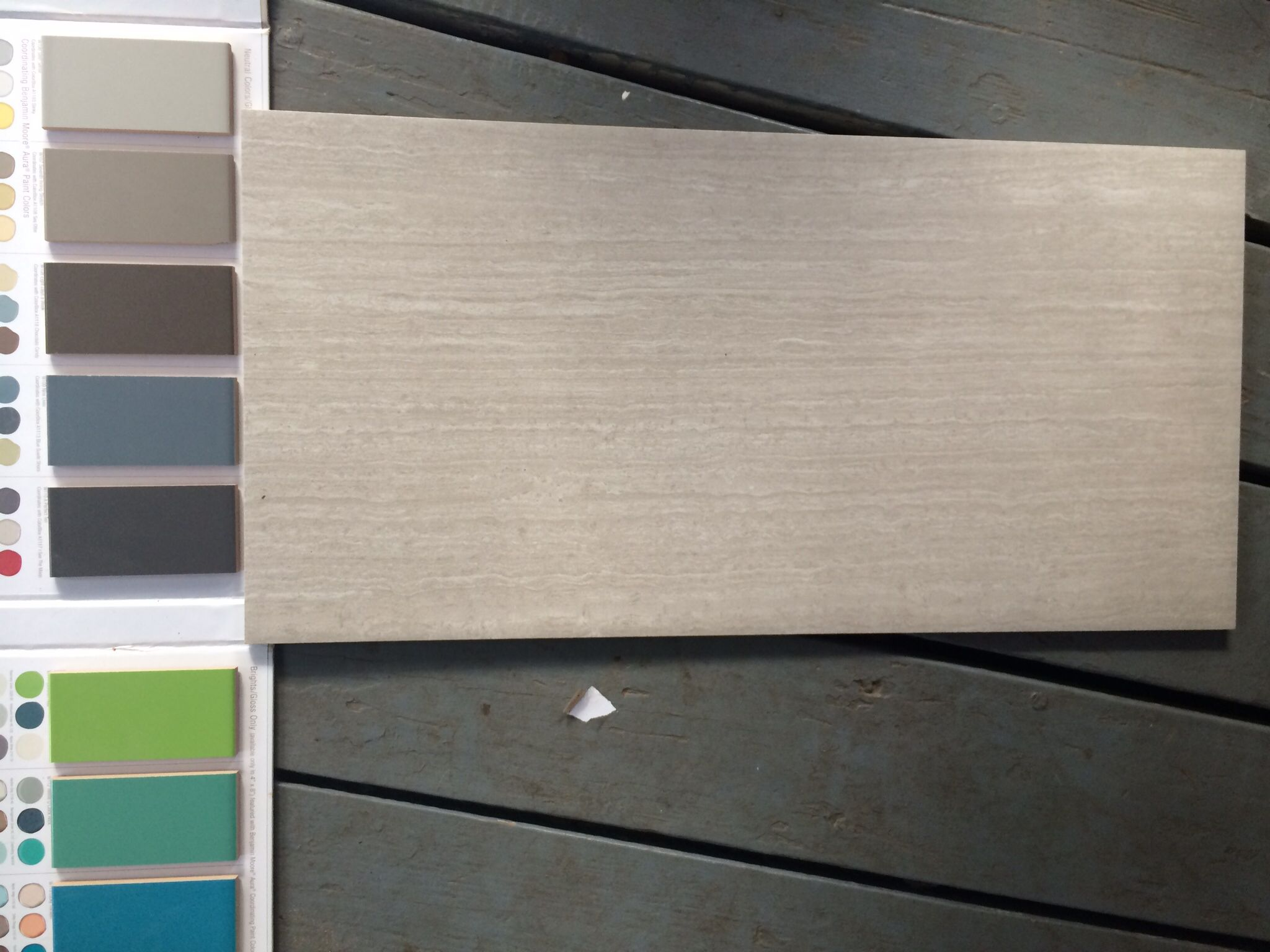 Leonia silver tile with the 3 subway tile options we\'re considering ...