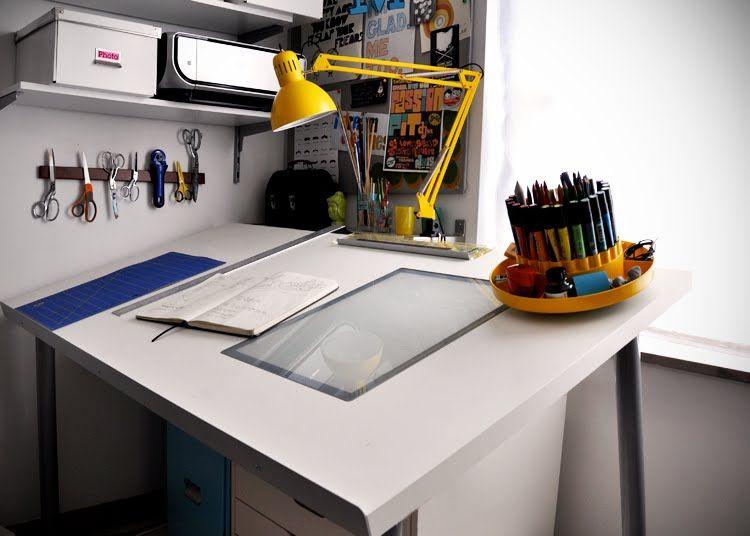 Make A Diy Drafting Table From An Ikea Desktop Ikea Hackers Art Desk Ikea Art Desk Diy Office