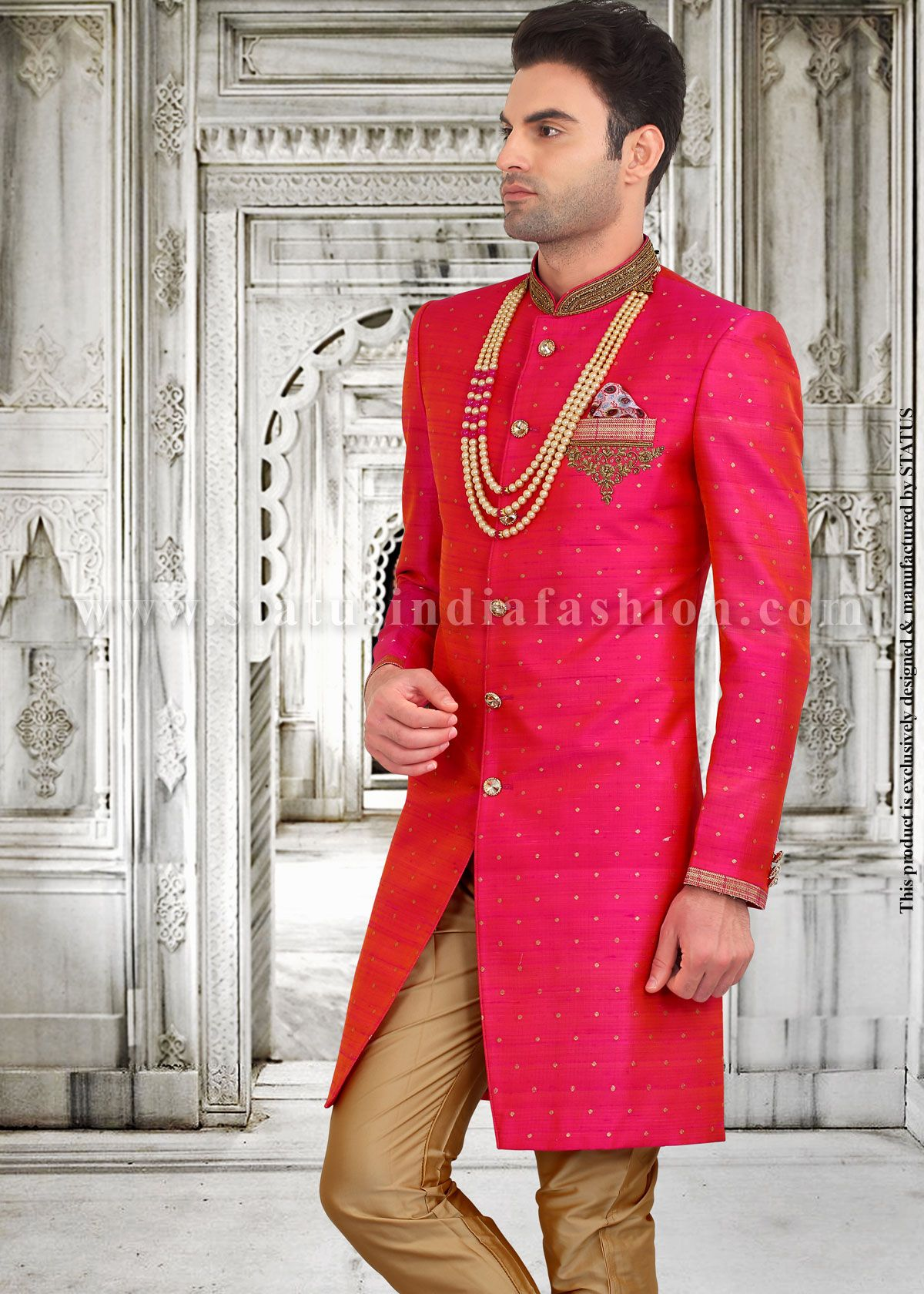Mens Wear Groom Wedding Dress Sherwani Designer Indo Western Bright Color