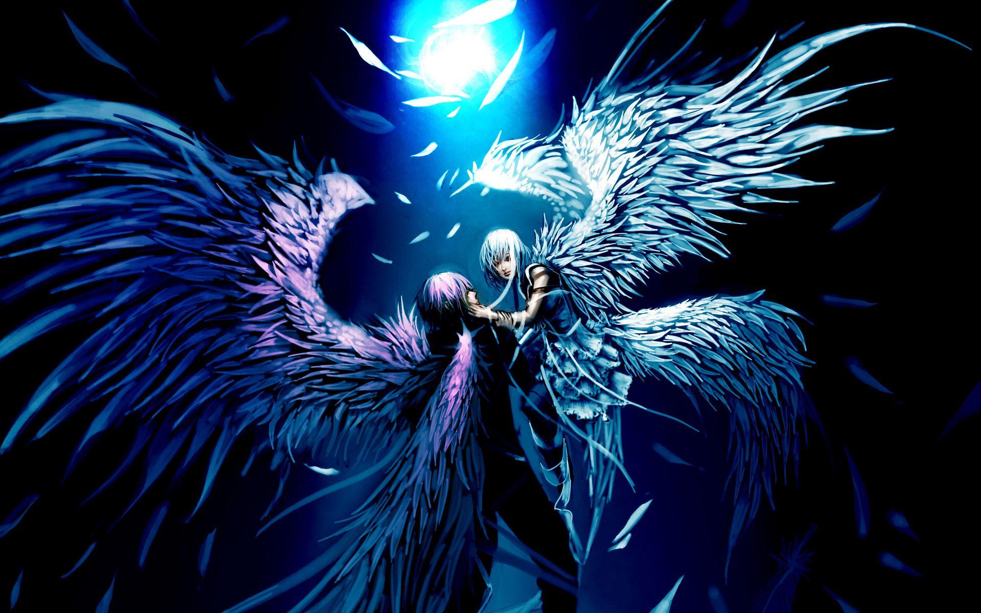 Amazing anime backgrounds flight sad sorrow artistic art embrace feathers wallpaper background