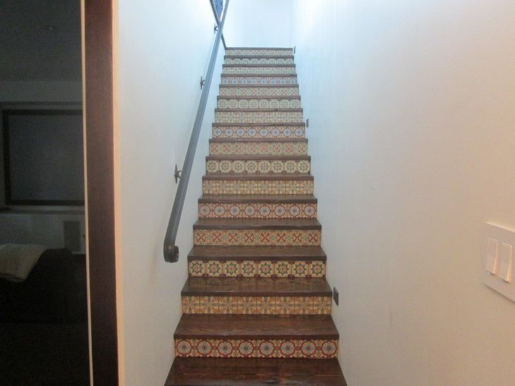 Mexican Pavers And Talavera Tile With Wood Stairs