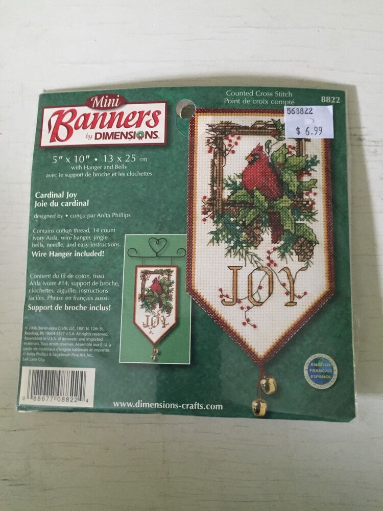 Dimensions 8822 Banners Cardinal Joy Mini Holiday Counted Cross Stitch Kit
