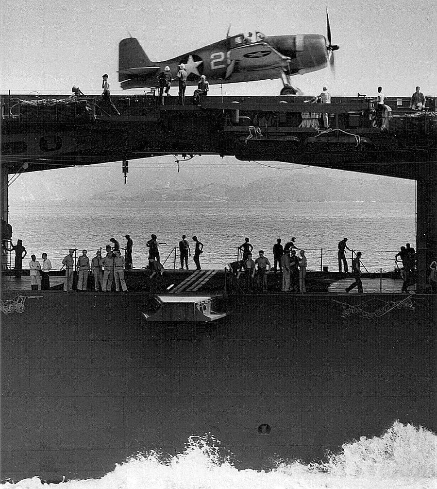 Hellcat above Yorktowns hangar deck, 1943