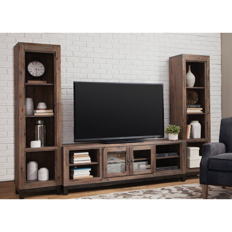Baringer Solid Wood Entertainment Center For Tvs Up To 80 In 2020 Wood Entertainment Center Entertainment Center Wooden Entertainment Centers